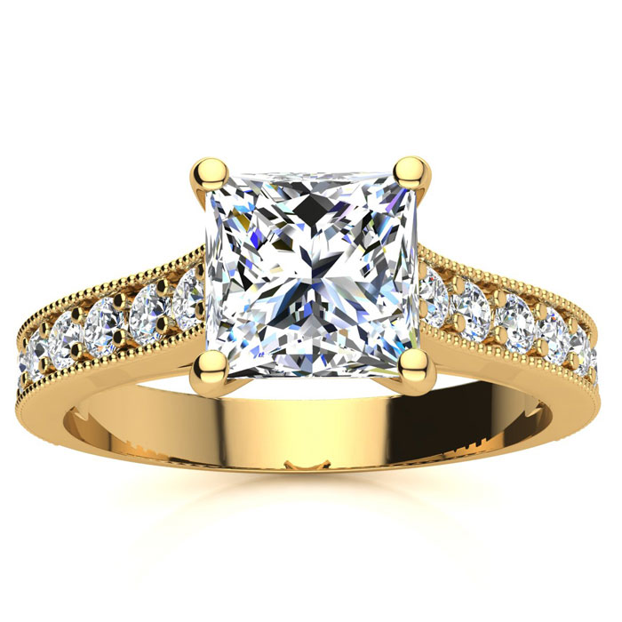 2.50 Carat Solitaire Engagement Ring With 2.00 Carat Princess Cut Center Diamond In 14K Yellow Gold