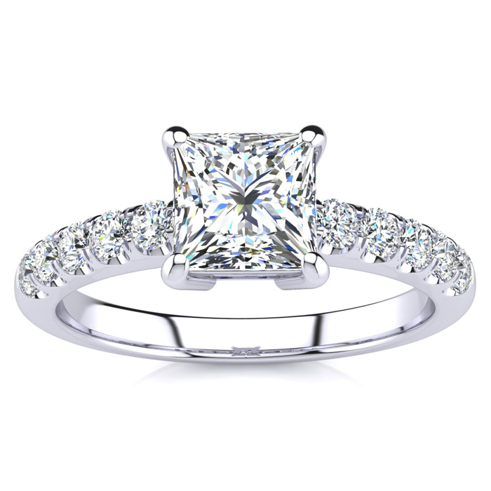 1.30 Carat Diamond Engagement Ring with 1 Carat Center Princess Cut Solitaire In 14 Karat White Gold