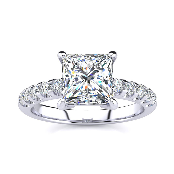 2.30 Carat Traditional Diamond Engagement Ring with 2 Carat Center Princess Cut Solitaire In 14 Karat White Gold