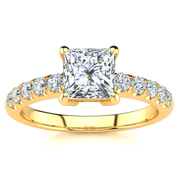 1.30 Carat Traditional Diamond Engagement Ring with 1 Carat Center Princess Cut Solitaire In 14 Karat Yellow Gold