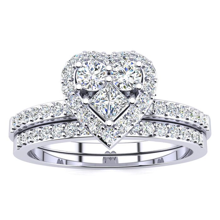 1/2 Carat Heart Shaped Bridal Engagement Ring Set in White Gold