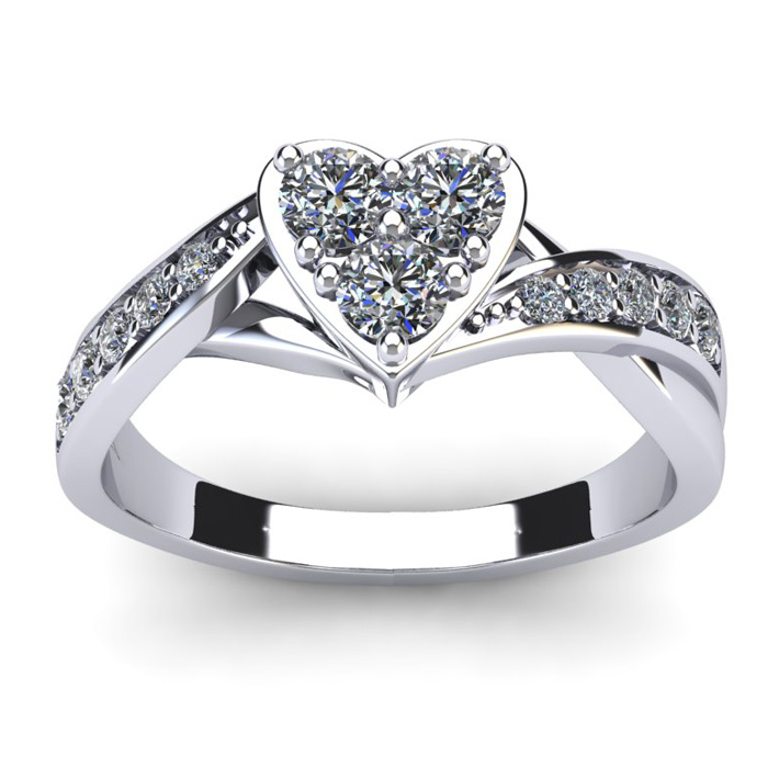 1/2 Carat Heart Shaped Engagement Ring In White Gold