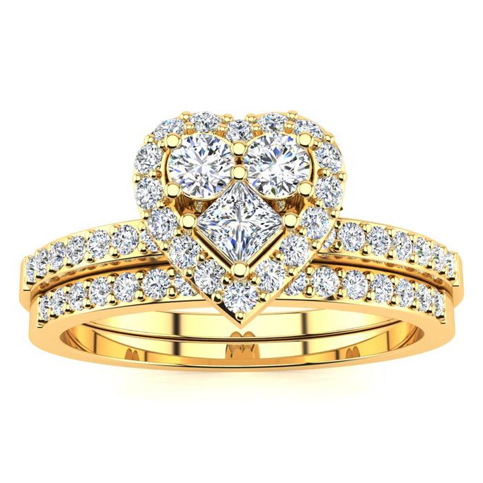 1/2 Carat Heart Shaped Bridal Engagement Ring Set in Yellow Gold
