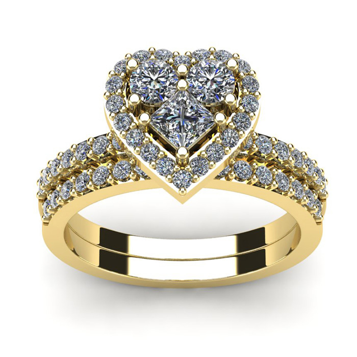 1 Carat Heart Shaped Bridal Engagement Ring Set in 14K Yellow Gold