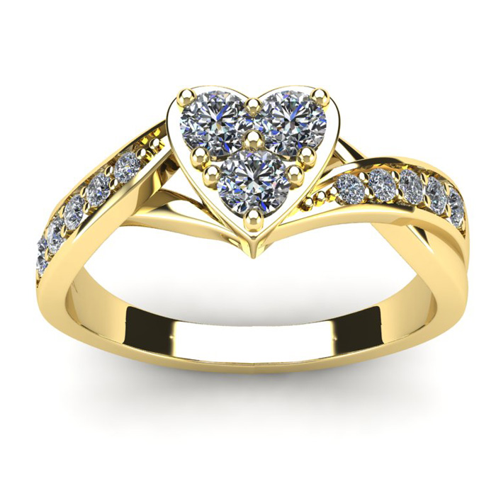1/2 Carat Heart Shaped Engagement Ring In Yellow Gold