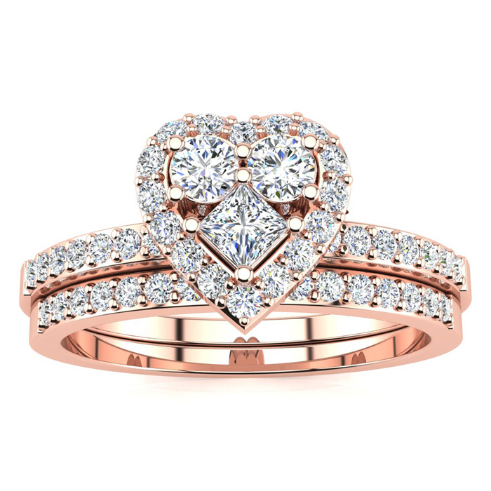1/2 Carat Heart Shaped Bridal Engagement Ring Set in Rose Gold