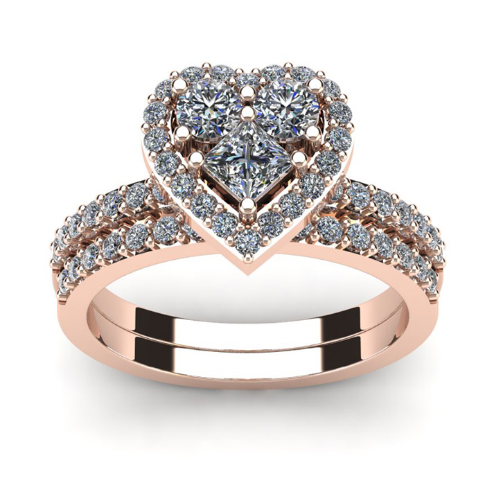 1 Carat Heart Shaped Bridal Engagement Ring Set in 14K Rose Gold