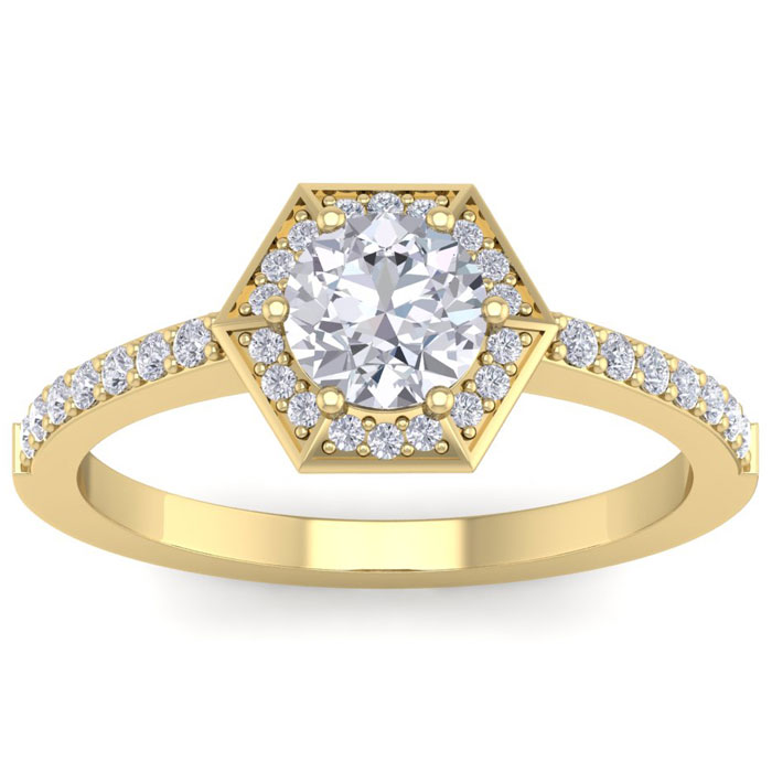 1.05 Carat Designer Engagement Ring Including .75 Carat Round Brilliant Center Diamond In 14 Karat Yellow Gold