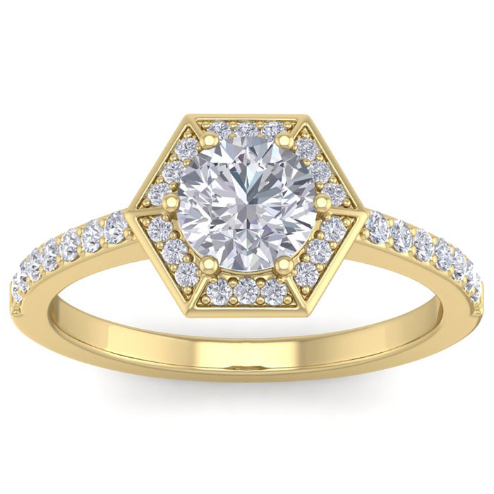 1.50 Carat Designer Engagement Ring Including 1.00 Carat Round Brilliant Center Diamond In 14 Karat Yellow Gold