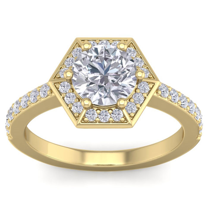 2.50 Carat Designer Engagement Ring Including 1.50 Carat Round Brilliant Center Diamond In 14 Karat Yellow Gold