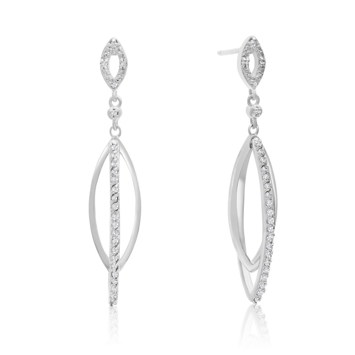 1/4 Carat Diamond Dangle Earrings In Sterling Silver, 1 1/2 Inches