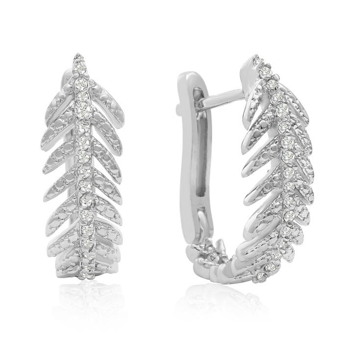 1/4 Carat Diamond Feather Earrings In Sterling Silver With Latch backs