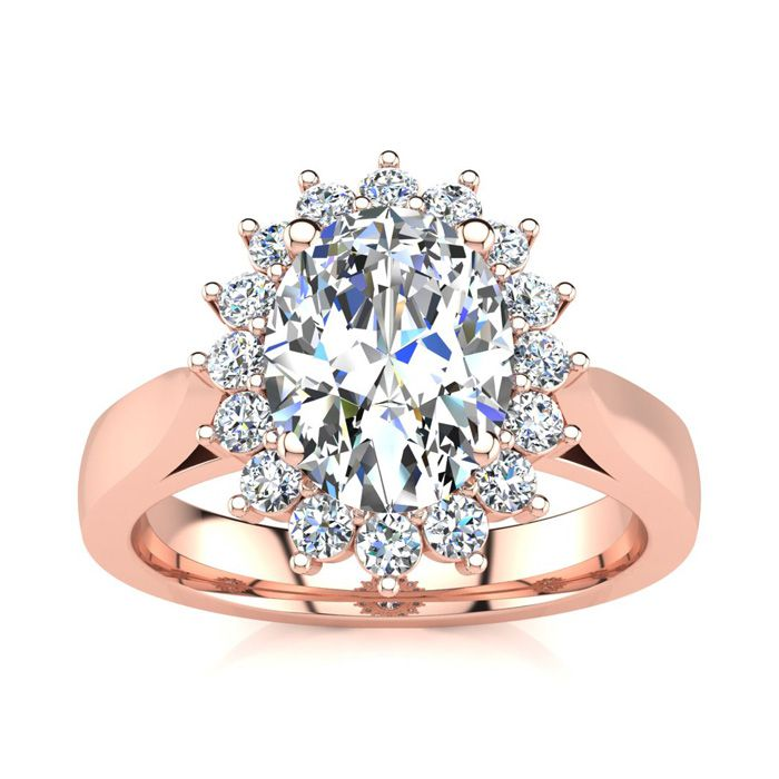 1 1/2ct Oval And Round Diamond Classic Engagement Ring In 14 Karat Rose Gold thumbnail