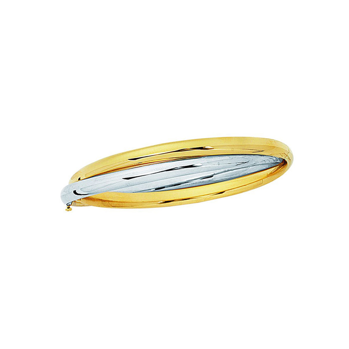 14 Karat Yellow & White Gold 7 Inch Shiny Fancy Double Bangle