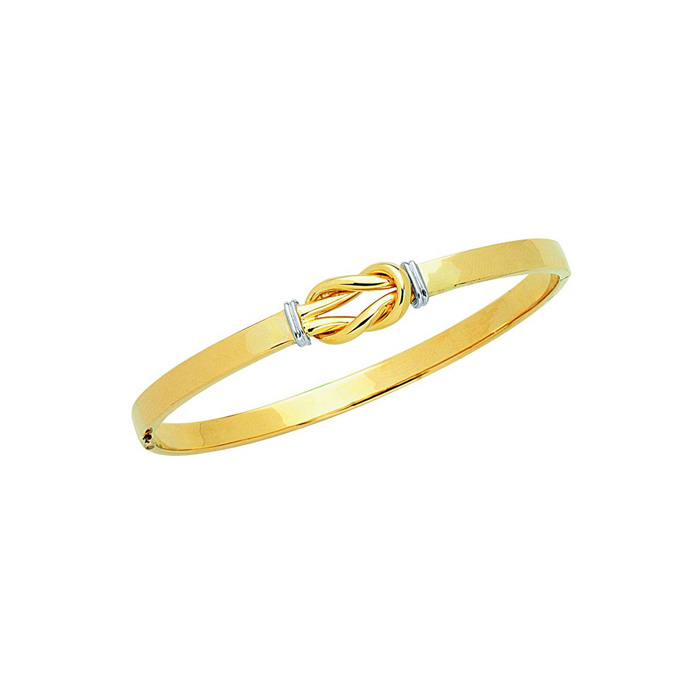 14 Karat Yellow & White Gold 4.75mm 7 Inch Shiny Loop-Top Fancy Bangle