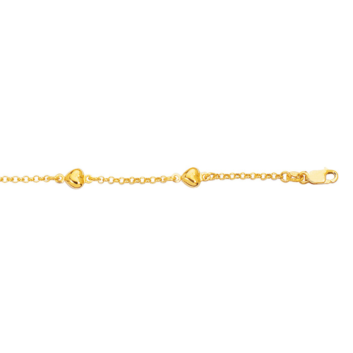14 Karat Yellow Gold 10 Inch Shiny Rolo Chain Link & Puffed Heart Anklet