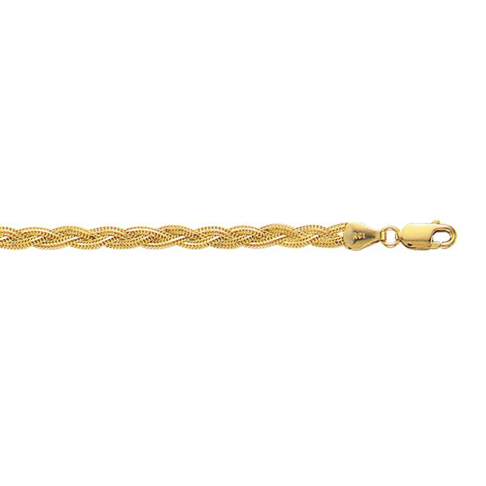 14 Karat Yellow Gold 3.5mm 10 Inch Diamond Cut Braided Fox Chain Anklet