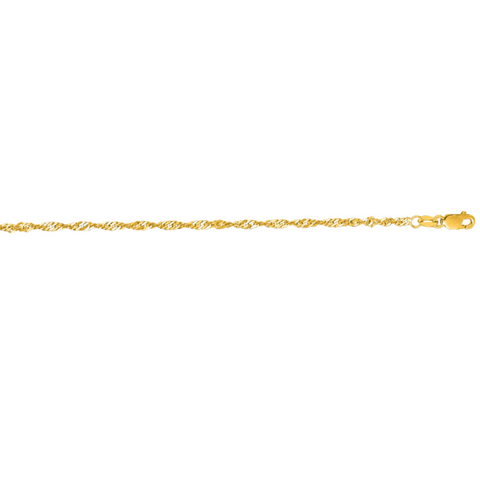 14 Karat Yellow Gold 2.1mm 10 Inch Shiny Diamond Cut Singapore Chain Anklet