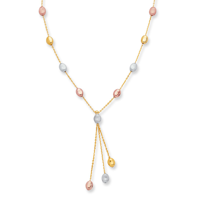 14 Karat Yellow, White & Rose Gold 10 Inch Tri-Color Pebble Anklet on a Shiny Cable Chain