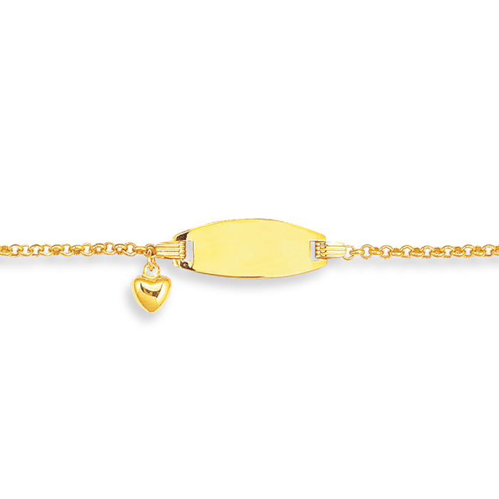 14 Karat Yellow Gold 6 Inch Children's Shiny Round Cable Link ID Bracelet With 1 Puffed Heart