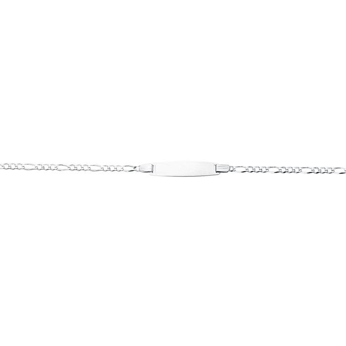 14 Karat White Gold 6 Inch Children's Shiny Classic Figaro ID Bracelet