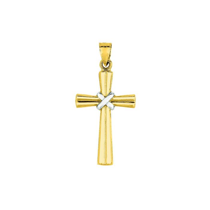 14 Karat Yellow & White Gold 34x16.5mm Shiny Fancy Cross Pendant