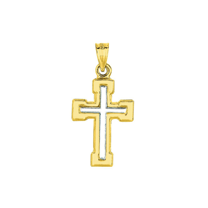 14 Karat Yellow & White Gold 26x13.5mm Shiny Small White Cross Pendant in Yellow Cross