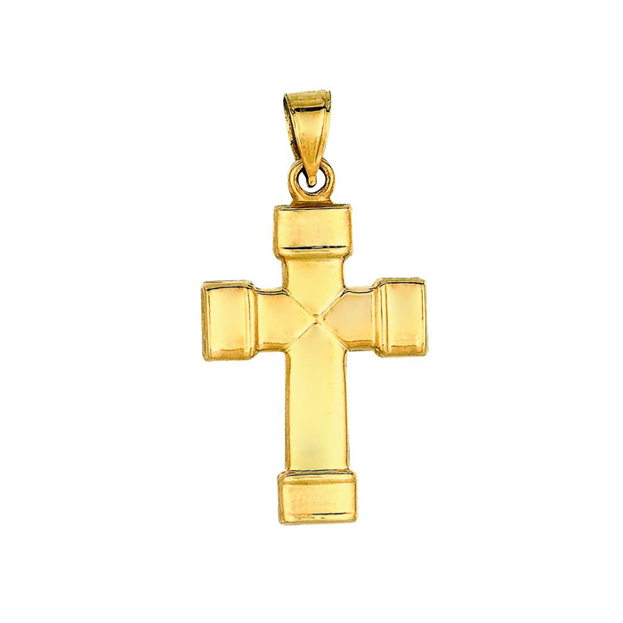 14 Karat Yellow Gold 31x16.6mm All Shiny Small Fancy Cross Pendant