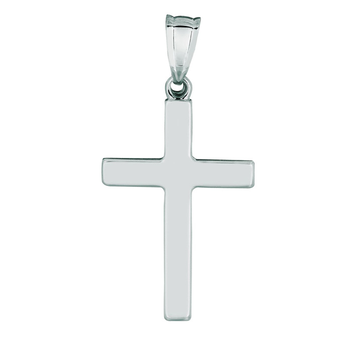 14 Karat White Gold All Shiny Small Cross Pendant