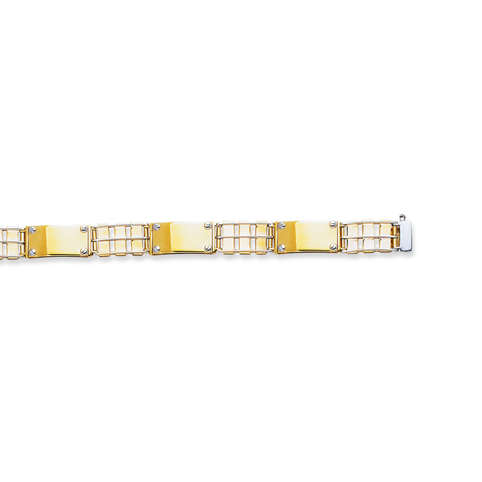 14 Karat Yellow & White Gold 8.50 Inch Railroad Type & Nail Head Fancy Men's Rolex Bracelet