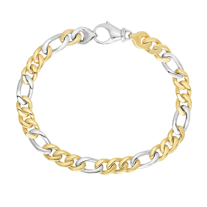 14 Karat Yellow & White Gold 6.0mm 8.50 Inch Soft Faceted & Shiny Figaro Style Men's Bracelet