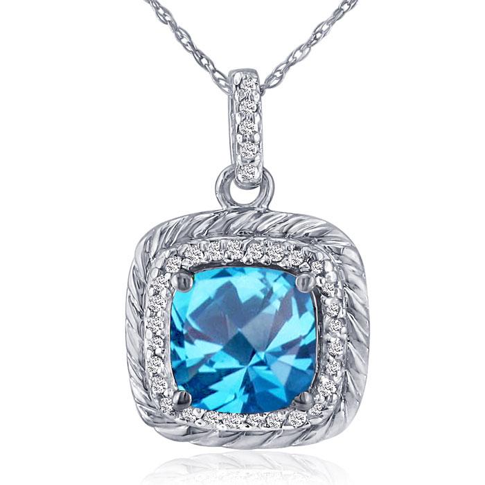 Rope Design Blue Topaz and Diamond Pendant in 18k White Gold