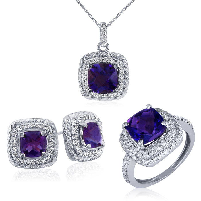 Rope Design Amethyst and Diamond Pendant, Earrings and Ring Set in 14k White Gold Over Silver