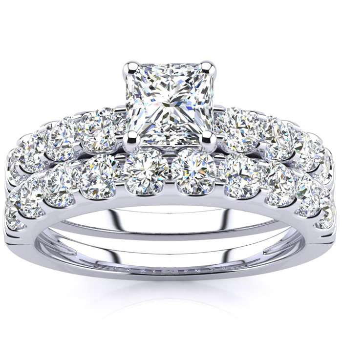 2 Carat Princess Center Engagement Ring and Wedding Band Set In 14K White Gold