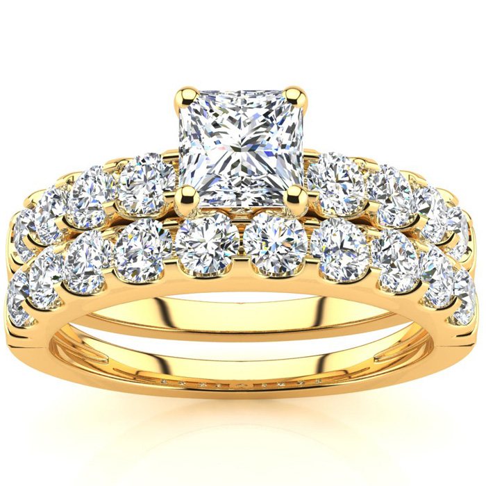 2 Carat Princess Center Engagement Ring and Wedding Band Set In 14K Yellow Gold