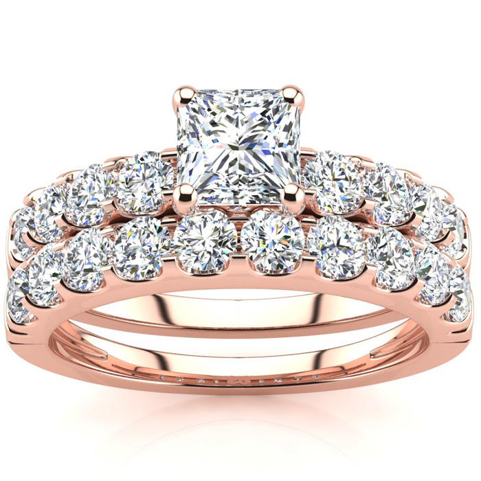 2 Carat Princess Center Engagement Ring and Wedding Band Set In 14K Rose Gold