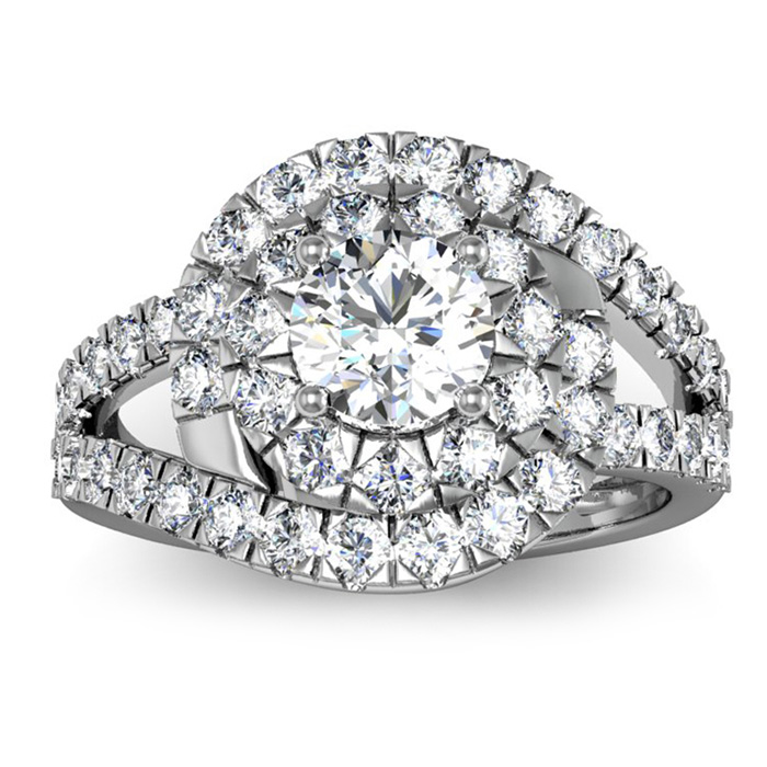 2 1/4 Carat Bold And Beautiful Bypass Round Diamond Engagement Ring, White Gold