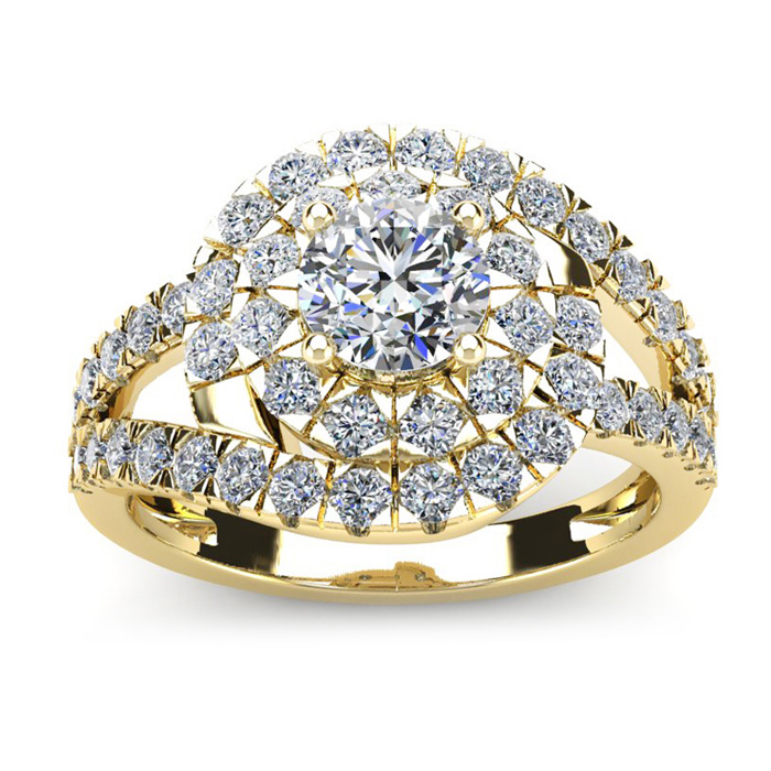 2 1/4 Carat Bold And Beautiful Bypass Round Diamond Engagement Ring, Yellow Gold