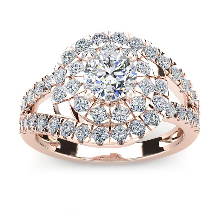 2 1/4 Carat Bold And Beautiful Bypass Round Diamond Engagement Ring, Rose Gold
