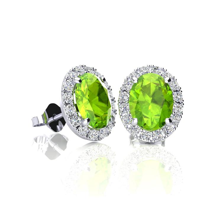 1 Carat Oval Shape Peridot And Halo Diamond Stud Earrings In 14 Karat White Gold