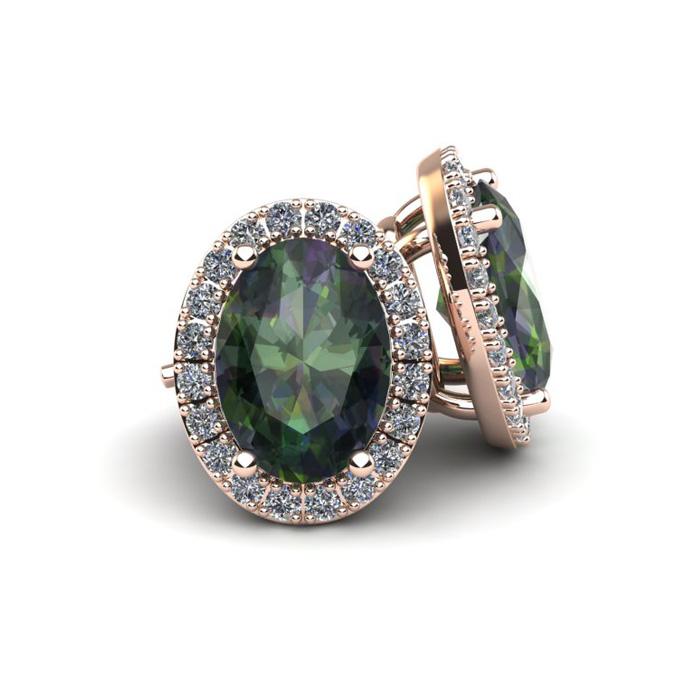 1 1/4 Carat Oval Shape Mystic Topaz And Halo Diamond Stud Earrings In 10 Karat Rose Gold