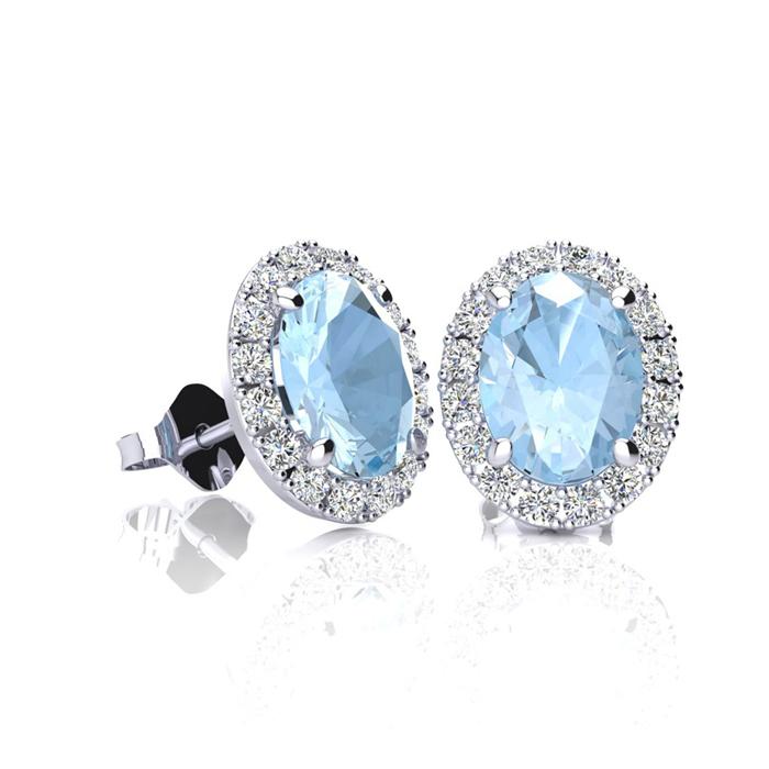 1 Carat Oval Shape Aquamarine and Halo Diamond Stud Earrings In 10 Karat Whi..