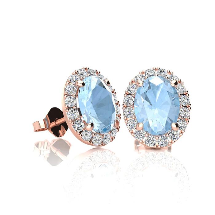 1 Carat Oval Shape Aquamarine and Halo Diamond Stud Earrings In 14 Karat Ros..