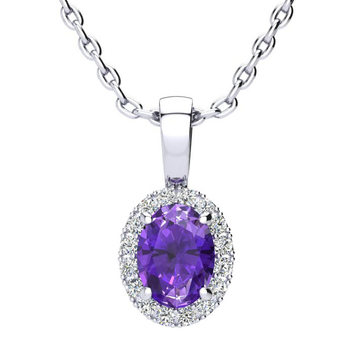 3/4 Carat Oval Shape Amethyst and Halo Diamond Necklace In 10 Karat White Go..