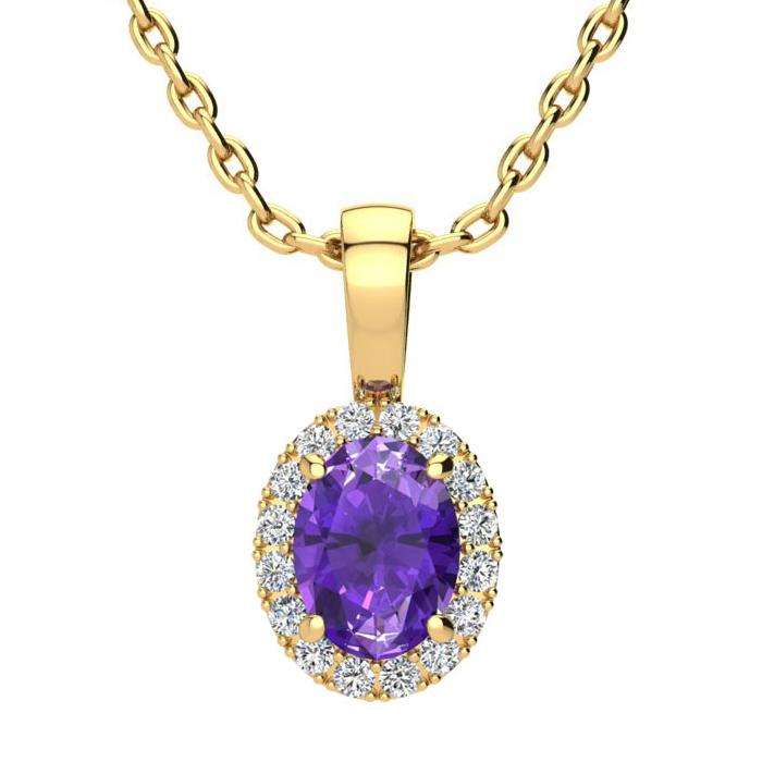 3/4 Carat Oval Shape Amethyst and Halo Diamond Necklace In 10 Karat Yellow G..