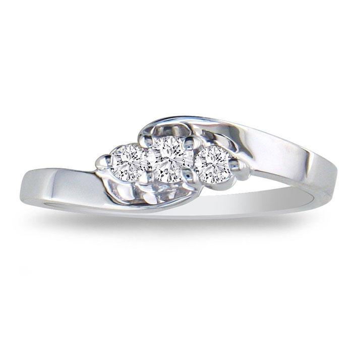 1/10ct Three Diamond Ring in 10k White Gold thumbnail