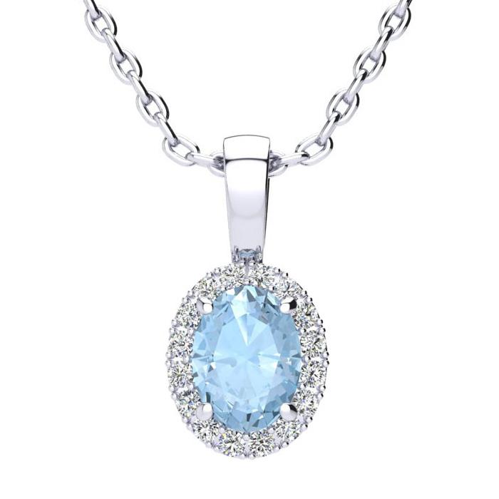 0.90 Carat Oval Shape Aquamarine and Halo Diamond Necklace In 10 Karat White..