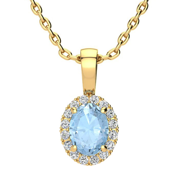 0.90 Carat Oval Shape Aquamarine and Halo Diamond Necklace In 10 Karat Yello..