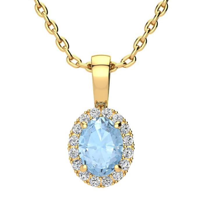0.90 Carat Oval Shape Aquamarine and Halo Diamond Necklace In 14 Karat Yello..