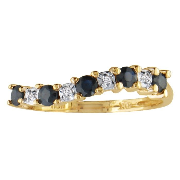 1/3ct Sapphire Journey Diamond Ring in 10k Yellow Gold